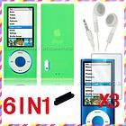 FOR APPLE IPOD NANO 5TH GEN GREEN SILICONE CASE COVER SCREEN