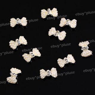 10pcs 3D Alloy Rhinestones Faux Pearl Bow Tie Nail Art Glitters DIY
