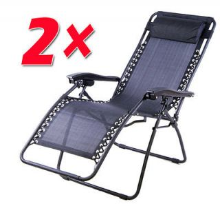 of 2 Gray Zero Gravity Chair Folding Recliner Patio Pool Lounge Chairs