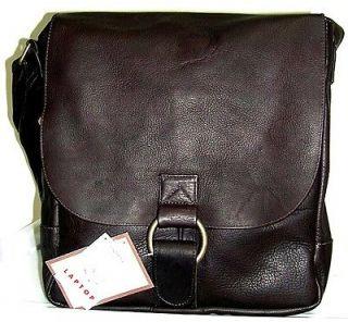 David King Leather Unisex PC Laptop Computer Messenger Bag Case Brown