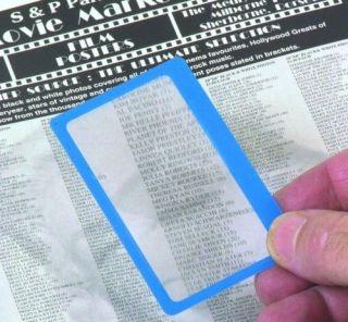Credit Card Size Fresnel Lens Magnifier Reading Glass in Blue Frame