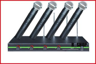 Channel 4xmic VHF Wireless handheld Mic Microphone System