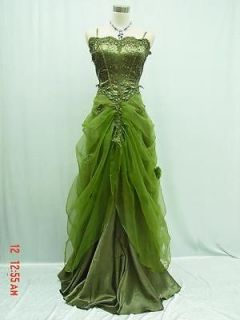 Cherlone Satin Green Lace Long Ball Wedding/Evenin​g Gown Bridesmaid