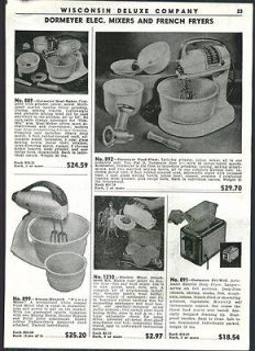 1951 AD Dormeyer Knapp Monarch Electric Food Mixers
