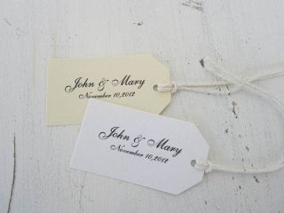 White or Ivory Favor Tags  Personalized Gift Tags Wedding Tags Party