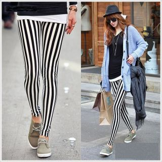 Women Black White Vertical Stripes Leggings Pants Trousers Tights XS S