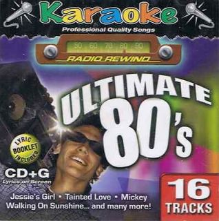 KARAOKE ultimate 80s LYRICS on BOOK or SCREEN new 16 song CD +G