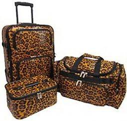 PIECE CHEETAH LEOPARD LUGGAGE TRAVEL VACATION SUIT CASE TOTE