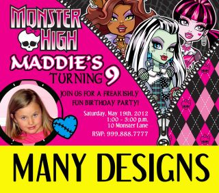 Custom Personalized Monster High Photo Birthday Party Invitation