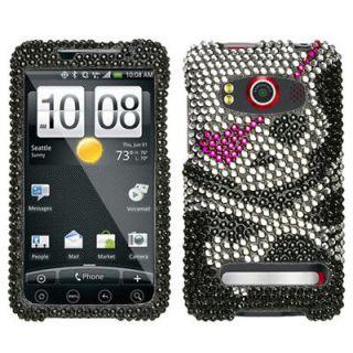 HTC EVO 4G Sprint Hard Case Snap On Phone Cover Black Silver Skull