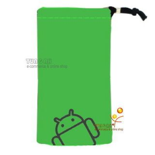 Green Android Velvet Pouch Bag Case For LG Optimus P500 P970 E730