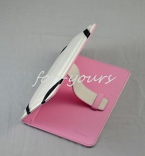 Pink PU leather case+Stylus for 8 Archos ARNOVA 8 G3/8c G3 Tablet PC