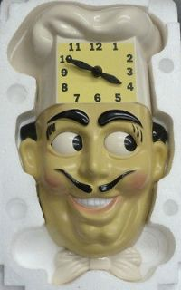 ANIMATED WALL CHEF CLOCK  LUIGI THE CHEF WITH ROLLING EYES