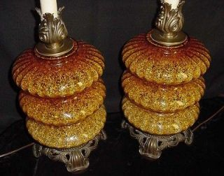 Retro Mid Century Hollywood Regency Art Glass table Lights / Lamps
