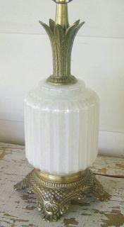 Vinage Hollywood Regency Pineapple Lamp Opalescen Glass Li Base Mid