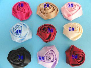 20PCS Big Satin Ribbon Rose Flower DIY Craft Wedding Appliques