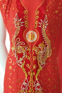 Vietnamese Traditional Dress Ao Dai Bridal Wedding Gown Red Velvet