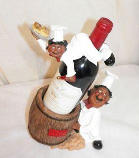 NEW KITCHEN BLACK CHEF COOK DECORATIVE WINE BOTTLE HOLDER & TOPPER