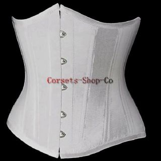 Brocade Goth Underbust Cupless Waist Training Corset Bustier Top White
