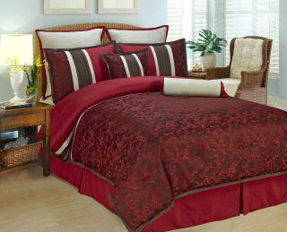 pcs Queen King Burgundy Cherry Blossom Comforter set