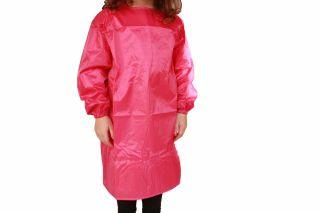 Girls Plain Pink Long Sleeve Art Craft Smock Apron Polyester Size 3 5