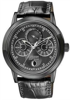CITIZEN ECO DRIVE MOON PHASE LEATHER ALL BLACK ION ELEGANT WATCH