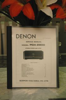 Denon POA 2800 Service Manual ! Very Rare ~LOOK~