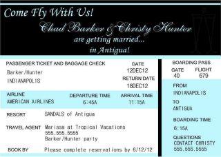 Personalized Destination Wedding Travel Plane Ticket Girls Weekend