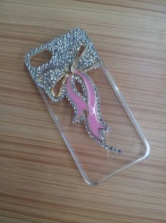 Hot 3D Clear Pink Ribbon Bow Diamond Crystal Bling Case Cover for
