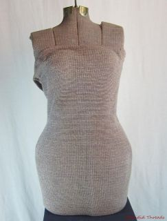 Vintage Cloth Covered Adjustable Dress Form with Hook