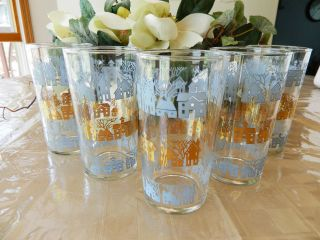 Vintage Set of 5 Anchor Hocking Fire King Juice Water Tumblers Glasses