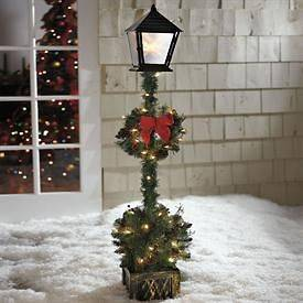 NEW Cordless 5 Topiary Lamp Post CHRISTMAS HOLIDAY Outdoor Yard Decor