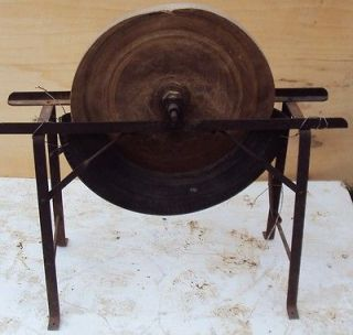ANTIQUE GRINDING STONE W/ FRAME / HANDLE