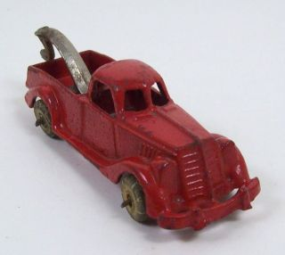 Vintage Hubley Red Metal Toy Tow Truck Wrecker Rubber Wheels No 2222
