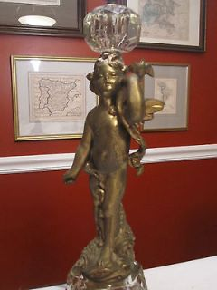 BEAUTIFUL ANTIQUE BRONZE AND CRYSTAL CHERUB/ANGEL LAMP (18 high)