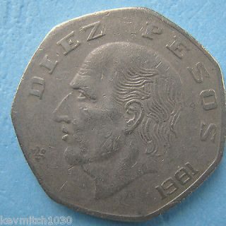 1981 Mexico Diez Pesos TEN Pesos Circulated Coin