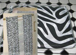 84 SAFARI Panels Curtains ZEBRA Animal Print Black & White SET