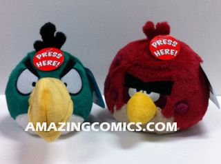 Angry Birds 5 Green Toucan & Big Brother Red Bird Plush Set of 2
