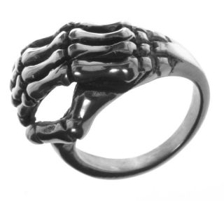 Alpaca Silver Ring R4 Skeleton Hand Life Death Size 9