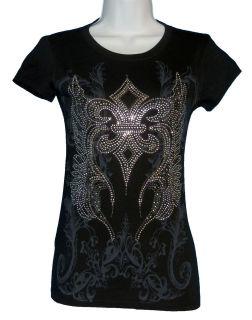 Brand Womens T Shirt with Fleur de lis Angel Wings Rhinestones Bling