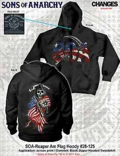 FALL 2012! SONS OF ANARCHY AMERICAN FLAG REAPER HOODIE SOA SAMCRO