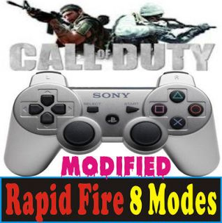 silver PS3 Modded Rapid Fire 8 Mode Controller Dualshock 3 COD BLACK