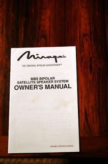 Mirage MPS Bipolar Speaker Owners Manual *Original*