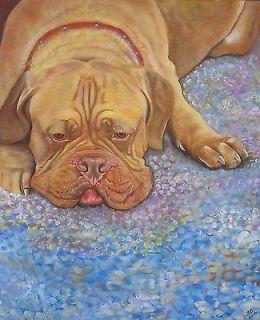 Original Painting French Mastiff Dog Breed Portrait Acrylic