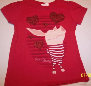 NWT Girls Top OLIVIA THE PIG S/S Sz 4T Cute Red with Glittered Hearts