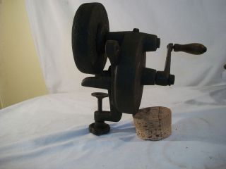 Antique Vintage Collectible Iron Bench Clamp Grinding Wheel