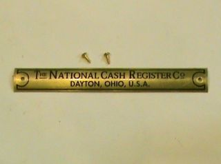 NATIONAL CASH REGISTER BRASS NAME PLATE FOR THE OAK BASES NCR