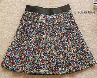 Girls Nifty New Colorful Polka Dots Floral Chiffon Blue/Black pleated