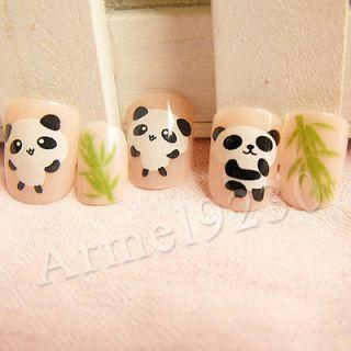 Lovely Panda 24 Nail Tips False Acrylic Animal Cute Nail Art Wraps