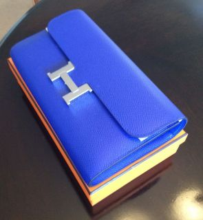 Brand New w/ Tags: Hermes Constance Elan Wallet/Clutch in Blue